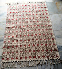 White BlockHand Print Rag Rug Handmade Cotton Indian Hand woven Carpet 180x120cm