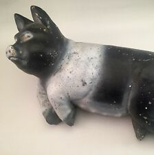 Vintage Pig Mama Hog Concrete Cast Statue Doorstop Garden Figure Heavy