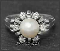 Diamant und Perlen Ring mit 0,50ct Brillanten, 585 Gold Damen Cocktailring