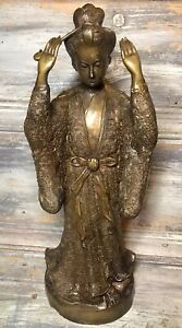 """C.1920 Japonisme Bronze """"Standing Geisha"""" 13½"""" Aesthetic Nouveau Art Statue FRA"""