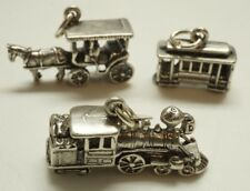 Vintage / Sterling Silver / Train Trolley Carriage Charm Set / Size: 1
