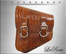 La Rosa Harley Softail Bobber Brown Alligator Emboss Leather Left Solo Saddlebag