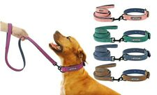 Custom Dog Collars Leather Personalized Pet Tag  Dogs Collar Leash Lead S M L XL