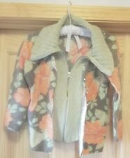 Free People Orange Green Floral Zip up/Button up Sweater Angora Lapin Wool L