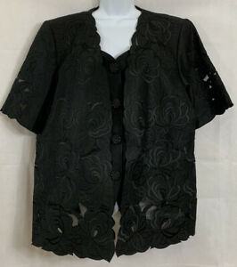 Davinci Plus Sz 22 Black Formal Evening Layered Blazer Top Brocade Cut Floral SS