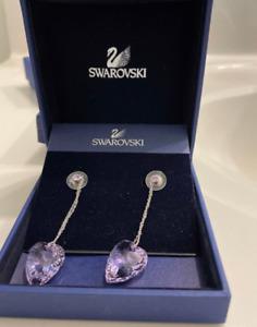 NIB Signed Swarovski Earrings Nectar Drop Violet Pierced Purple Heart 1090165