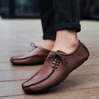 Men's Flat Slip on Leather Loafers Casual Slippers Lazy Driving Moccasins Shoes
