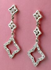 David Yurman Sterling silver Quatrefoil earrings with pavé diamonds