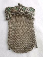 ANTIQUE CARTER HOWE STERLING  MESH PURSE & GREEN ENAMEL GRIFFON FRAME - BO CHAIN