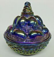 Vintage Westmoreland Iridescent Blue Glass Chick & Eggs Nest Basket Covered Dish