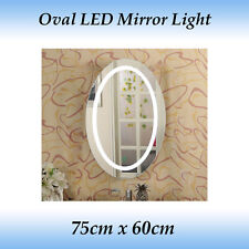 Oval LED Mirror Light with Touch Switch in 75cm x 60cm