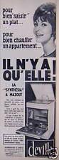 PUBLICITÉ 1961 DEVILLE LA SYNTHÉSIA A MAZOUT BRULEUR SOMY - ADVERTISING