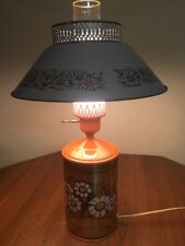 "Vintage Orange Metal Lamp Daisies 19.5"" Tall 12"" Shade Kitschy Cabin"