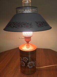 "Vintage Orange Metal Lamp Daisies 19.5"" Tall 12"" Shade Kitschy Cabin"