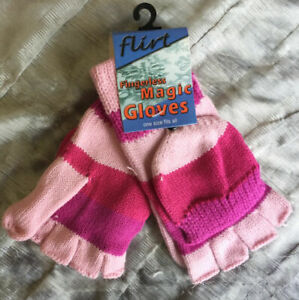 Ladies Girls pink finger-less fingerless Magic gloves with Mittens pouch Mitts
