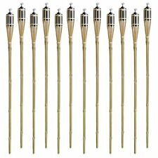 Matney Bamboo Torches-Set of 12-Includes Oil Canisters with Bamboo Covers