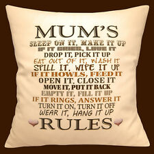 """MUM's RULES Novelty Mother's Day Birthday Gift Hearts 16"""" Pillow Cushion Cover"""