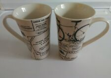222 FIFTH INTERNATIONAL DAILY NEWS PARIS LONDON TALL LATTE COFFEE MUG Set of 2