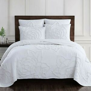 Rose Chenille 3-Pc Cotton FULL / QUEEN Quilt Set in Coconut QUILT + 2 SHAMS