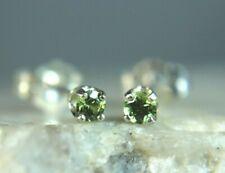 GARNET - Genuine Green Demantoid Garnet 925 Sterling Silver PETITE Stud Earrings