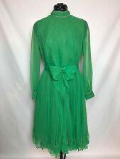Jack Bryan Dupuis Vintage 1970s Emerald Green Beaded Pleated Ruffle Dress Disco