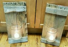 Set 2 Reclaimed Wood Mason Jar Wall Sconces Rustic Pallet Barn Country Wedding