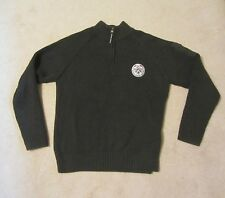 Mens River Woods SWEATER 1/2 Zip size Med Dark Gray Heavy Weight Ribbed Sleeves