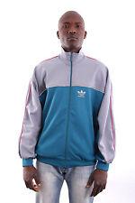 Adidas Mens Blue Grey Trefoil Vintage Polyester Tracksuit Top Jacket L LARGE