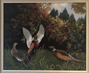 Original Irish Art Oil On Board Painting Pheasants In Landscape By Pearl Geddis