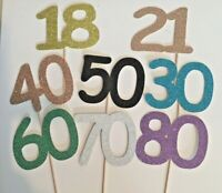 Glitter Card Number Cake Topper Any Number or Colour 1-100 UK FREE P&P