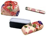 New BENTO Lunch Box Chopsticks Purse 3 set Microwave OK Japanese SAKURA Japan