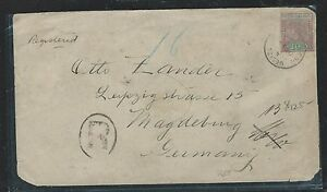 BRITISH HONDURAS (P2906B)1905 QV 10C REG TO GERMANY