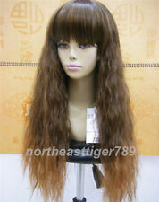 Long Brown Fluffy Small Wavy Neat Bangs Women Cosplay Party Hair Wig Wigs + Cap