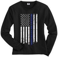 Threadrock Women's Honor Respect Thin Blue Line Flag Long Sleeve T-shirt