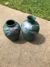 2 Vintage Handmade Green Vases - Cooper Mary - Great Condition