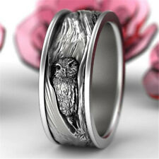 Fashion 925 Silver Owl Animal Band Ring Women Men Wedding Jewelry Gift Size 7-12