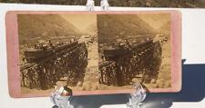 JACKSON BROS. OMAHA NEB - STEREOVIEW DEVILS GATE BRIDGE UNION PACIFIC RR 1869-70
