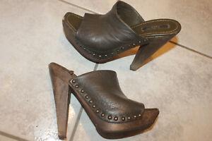 ZARA High Heel Plateau Stiletto Clogs Zoccoli Sabot Mules Vintage Pantolette 37