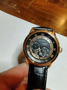 Bulova 97A116 Automatic Mens Watch Rose Gold w Black Leather Strap