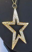 Chaîne collier pendentif bijoux grande étoile couleur or cristal diamant 3276