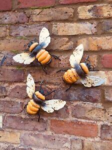 Bumble Bee Wall Art Garden Ornament Metal Gift £6 Saving When Buying Set Of 3