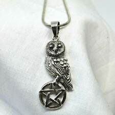 Wise Owl Pentagram Solid 925 Silver Pendant by Lisa Parker Wicca Pagan Jewellery