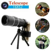16x52 Zoom Hiking Concert Camera Lens Monocular Telescope + Phone Clip Holder