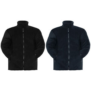 UNISEX PADDED FLEECE JACKET WINTER THICK WARM QUILTED LINED ANTI PILL ZIP COAT