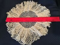 "Vintage Hand Crocheted White 11"" Table Doily"