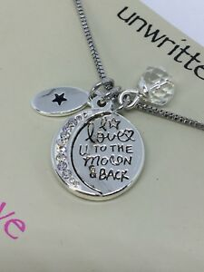Unwritten To The Moon And Back Crystal And Disc Pendant Necklace In Stainless St