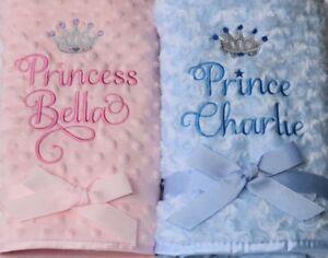 Personalised Prince Princess Luxury Rose fur / Dimpled / Fleece Baby Blanket