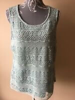 M&Co Womens Vest Top Size 16 Mint Green Croshet Sleeveless