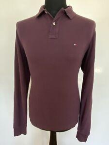 Tommy Hilfiger Long Sleeve Polo T-Shirt, Dark Purple, Size M, RRP £89 *Slim Fit*
