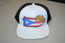 Puerto Rico Island Flag Frog Trucker Mesh Hat Cap Flat Bill Snap Back- One Size